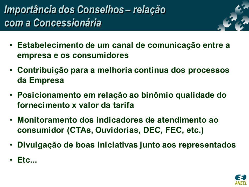 Importância dos Conselhos – relação com a Concessionária