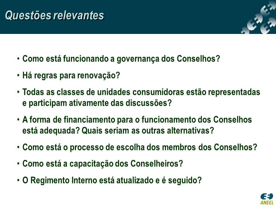 Questões relevantes Como está funcionando a governança dos Conselhos