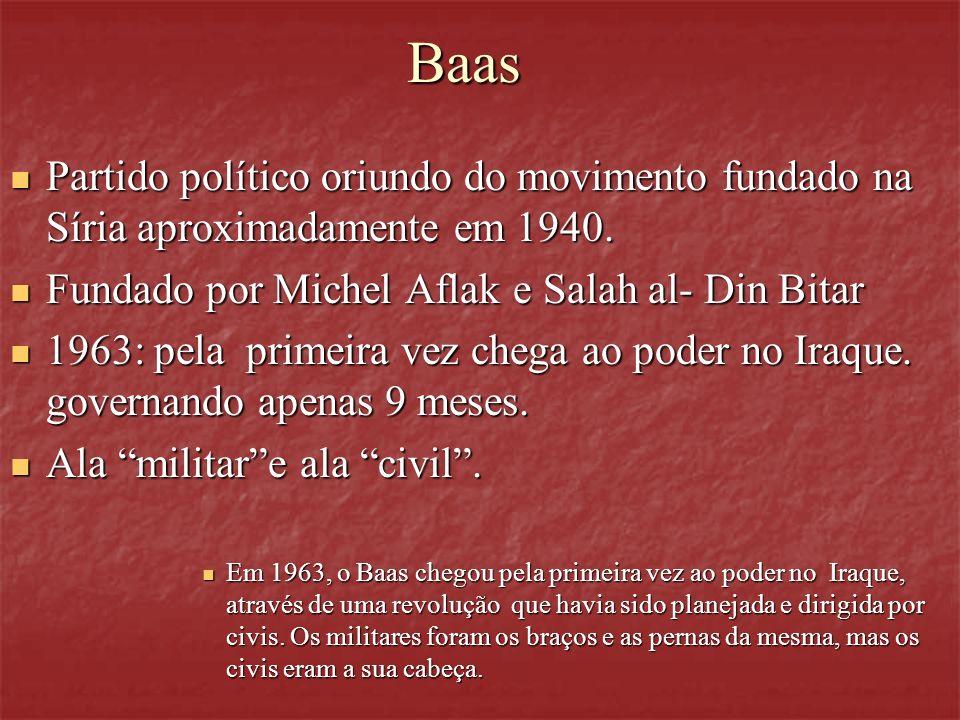 BaasPartido político oriundo do movimento fundado na Síria aproximadamente em 1940. Fundado por Michel Aflak e Salah al- Din Bitar.