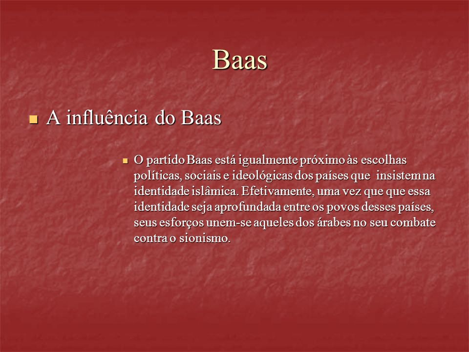Baas A influência do Baas