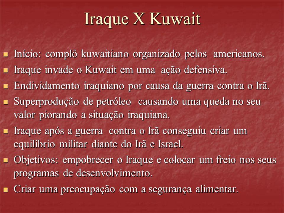 Iraque X Kuwait Início: complô kuwaitiano organizado pelos americanos.