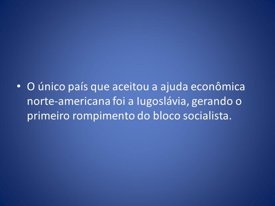 O único país que aceitou a ajuda econômica norte-americana foi a Iugoslávia, gerando o primeiro rompimento do bloco socialista.