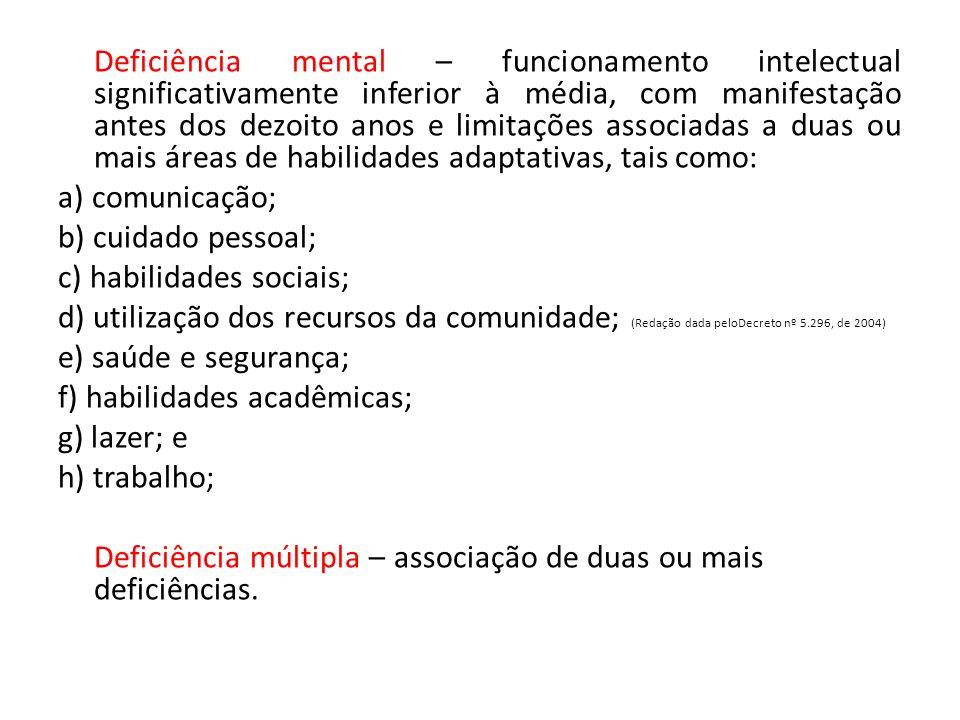 Deficiência mental – funcionamento intelectual significativamente inferior à média, com manifestação antes dos dezoito anos e limitações associadas a duas ou mais áreas de habilidades adaptativas, tais como: