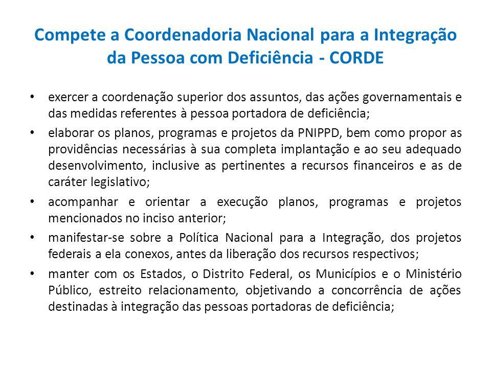 Compete a Coordenadoria Nacional para a Integração da Pessoa com Deficiência - CORDE