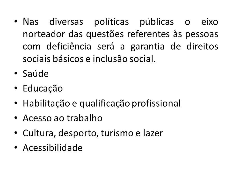 Nas diversas políticas públicas o eixo norteador das questões referentes às pessoas com deficiência será a garantia de direitos sociais básicos e inclusão social.