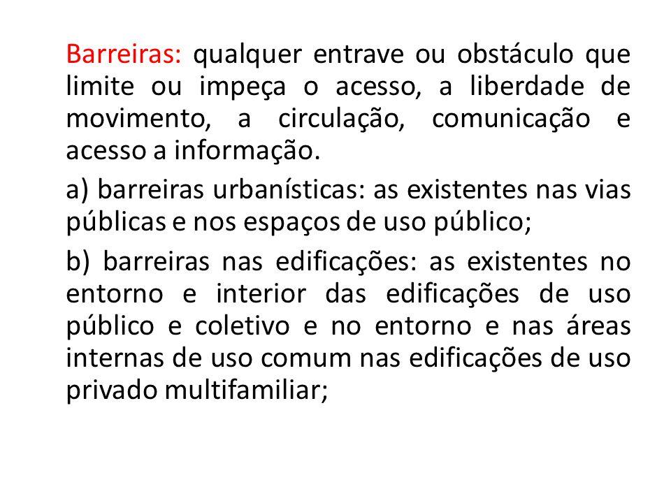 Barreiras: qualquer entrave ou obstáculo que limite ou impeça o acesso, a liberdade de movimento, a circulação, comunicação e acesso a informação.