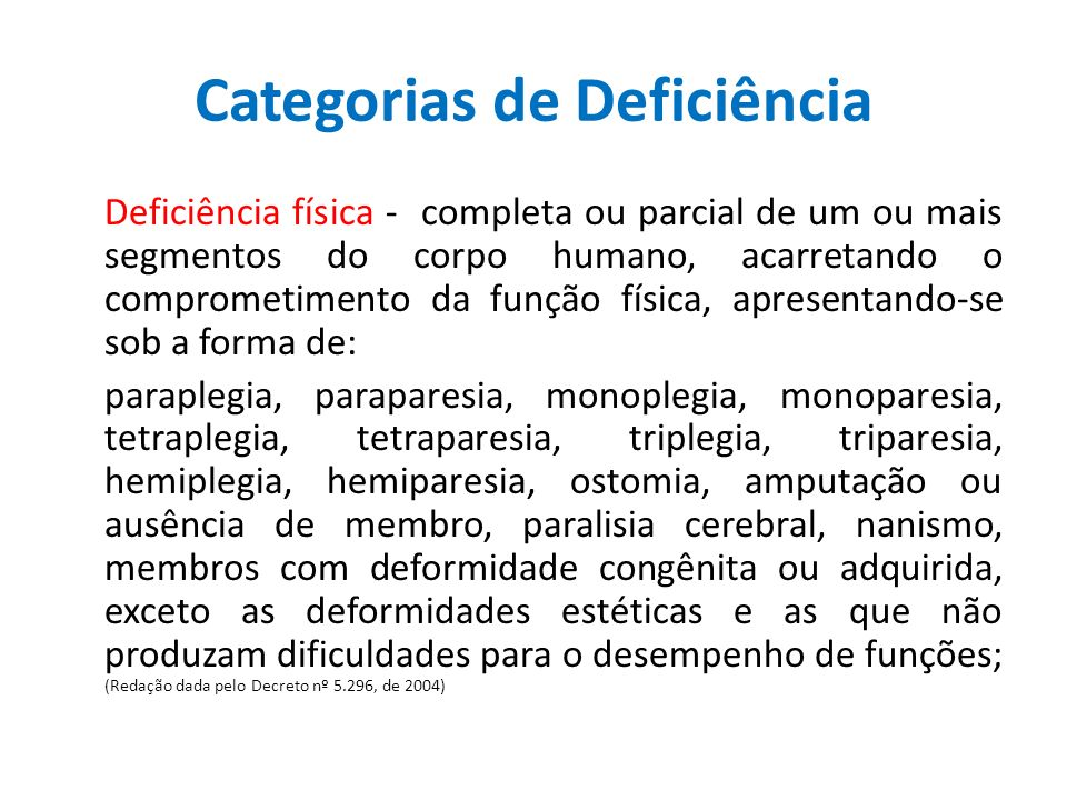 Categorias de Deficiência