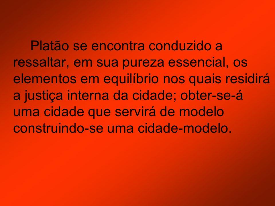 Platão se encontra conduzido a ressaltar, em sua pureza essencial, os elementos em equilíbrio nos quais residirá a justiça interna da cidade; obter-se-á uma cidade que servirá de modelo construindo-se uma cidade-modelo.