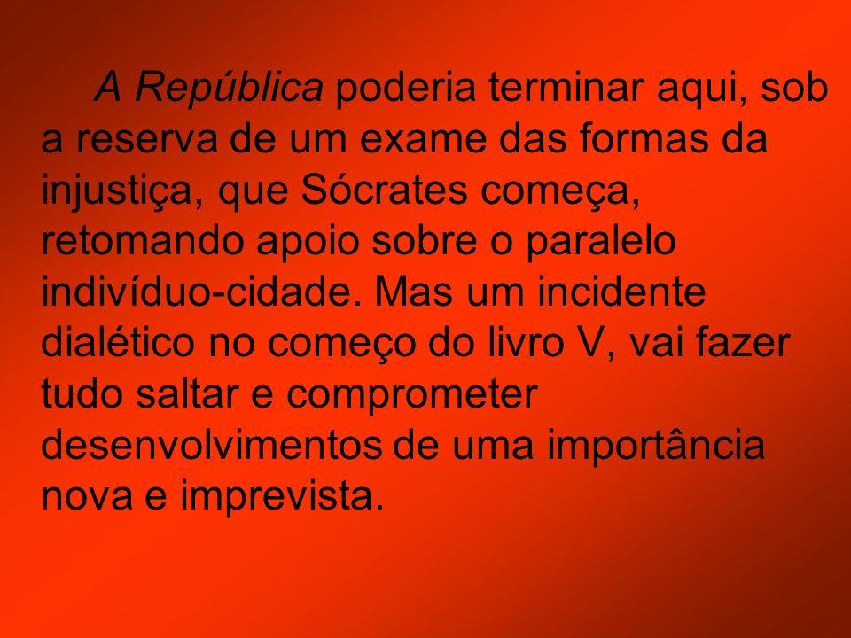 A República poderia terminar aqui, sob a reserva de um exame das formas da injustiça, que Sócrates começa, retomando apoio sobre o paralelo indivíduo-cidade.