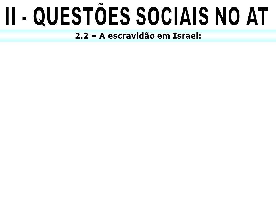 II - QUESTÕES SOCIAIS NO AT 2.2 – A escravidão em Israel: