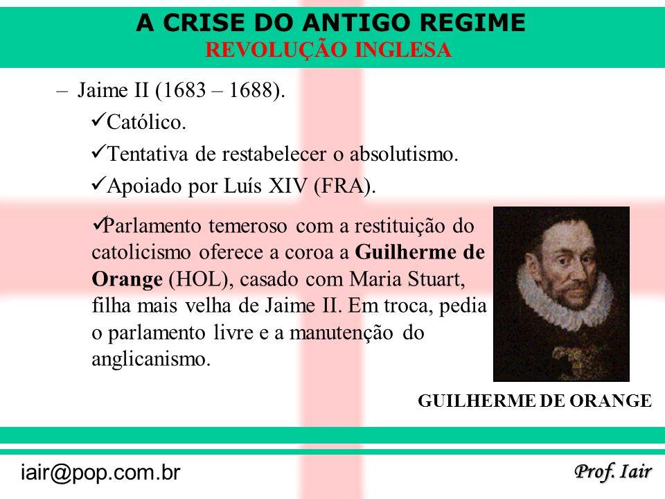 Tentativa de restabelecer o absolutismo. Apoiado por Luís XIV (FRA).