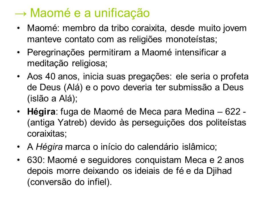 → Maomé e a unificação Maomé: membro da tribo coraixita, desde muito jovem manteve contato com as religiões monoteístas;