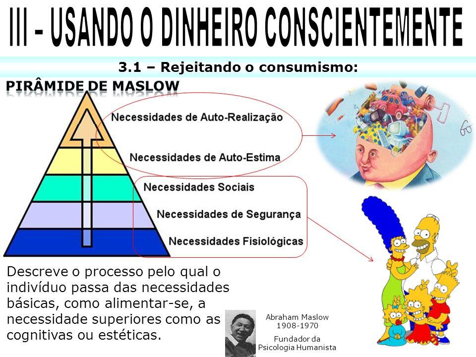 III – USANDO O DINHEIRO CONSCIENTEMENTE 3.1 – Rejeitando o consumismo: