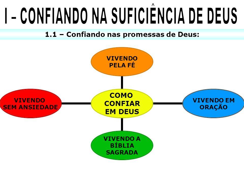 I – CONFIANDO NA SUFICIÊNCIA DE DEUS