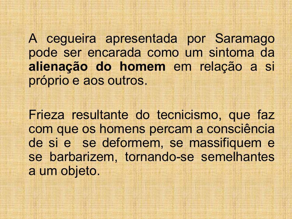 A cegueira apresentada por Saramago pode ser encarada como um sintoma da alienação do homem em relação a si próprio e aos outros.