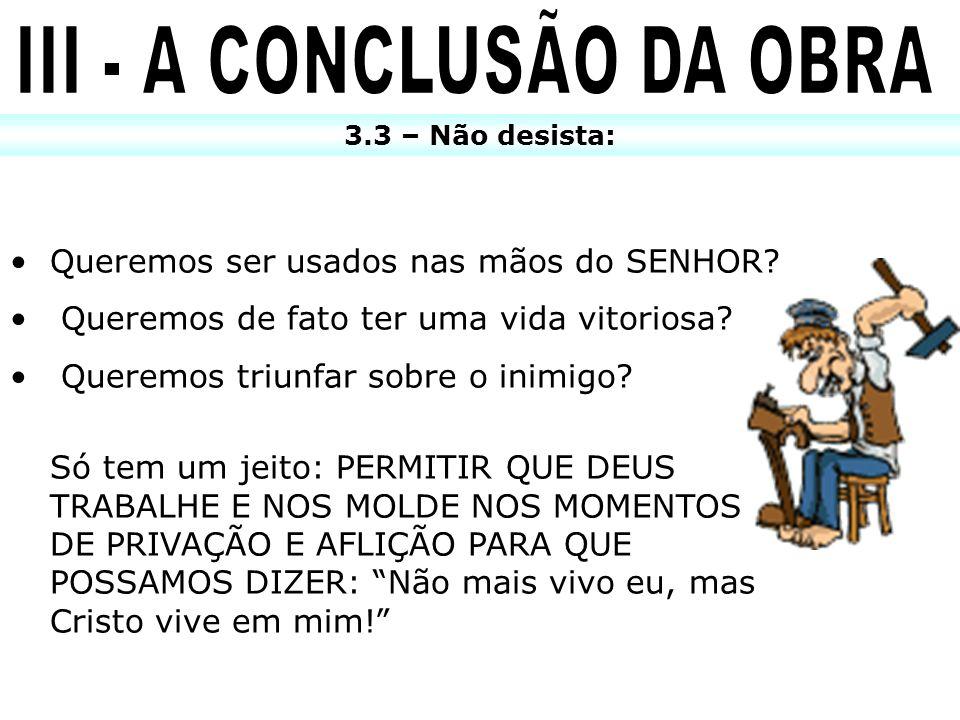 III - A CONCLUSÃO DA OBRA