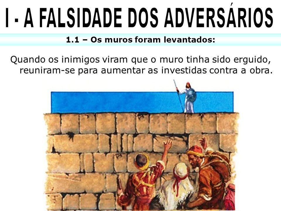 I - A FALSIDADE DOS ADVERSÁRIOS 1.1 – Os muros foram levantados: