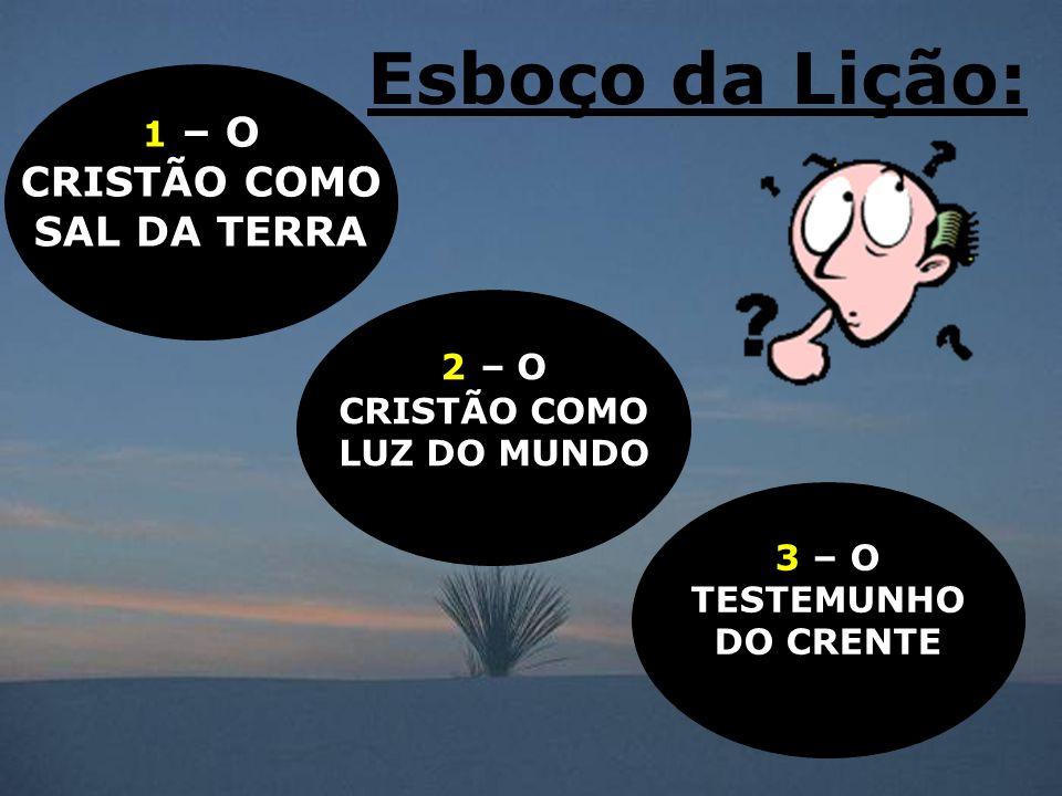 Esboço da Lição: CRISTÃO COMO SAL DA TERRA 1 – O 2 – O CRISTÃO COMO