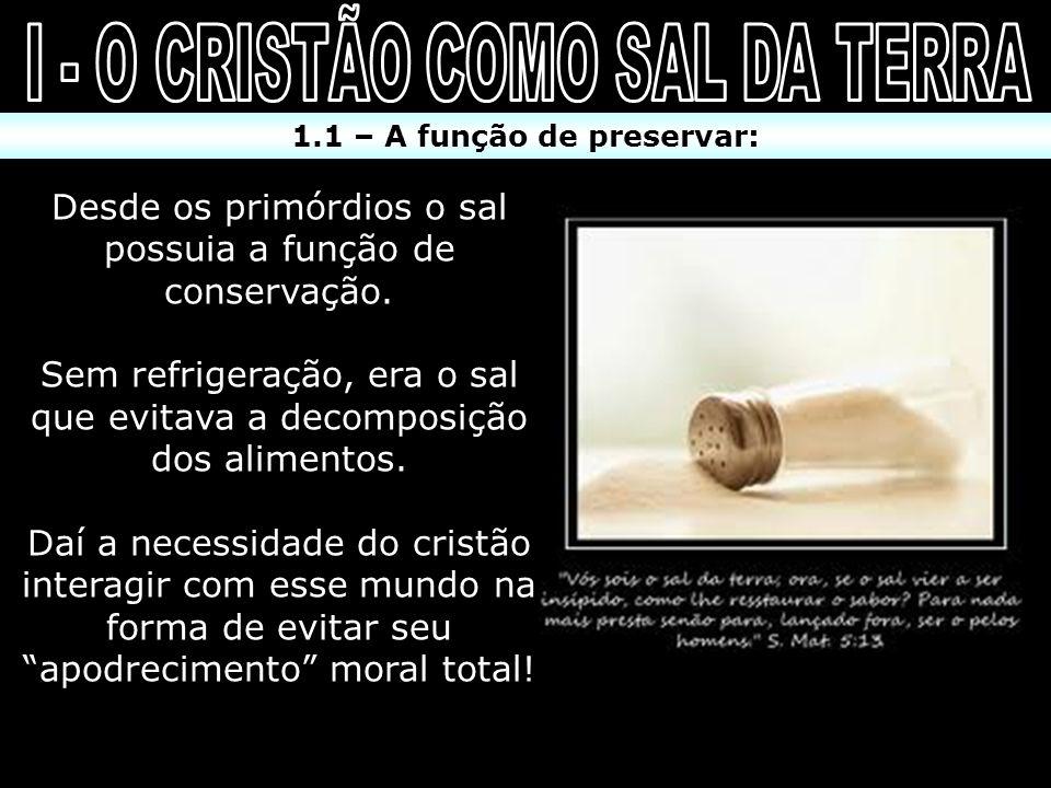 I - O CRISTÃO COMO SAL DA TERRA 1.1 – A função de preservar: