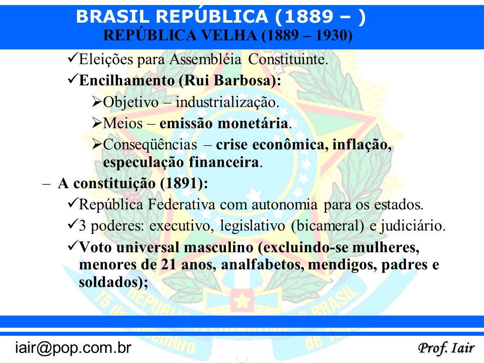 Eleições para Assembléia Constituinte.