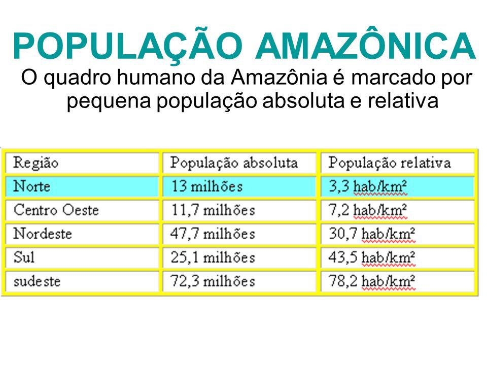 POPULAÇÃO AMAZÔNICA O quadro humano da Amazônia é marcado por pequena população absoluta e relativa