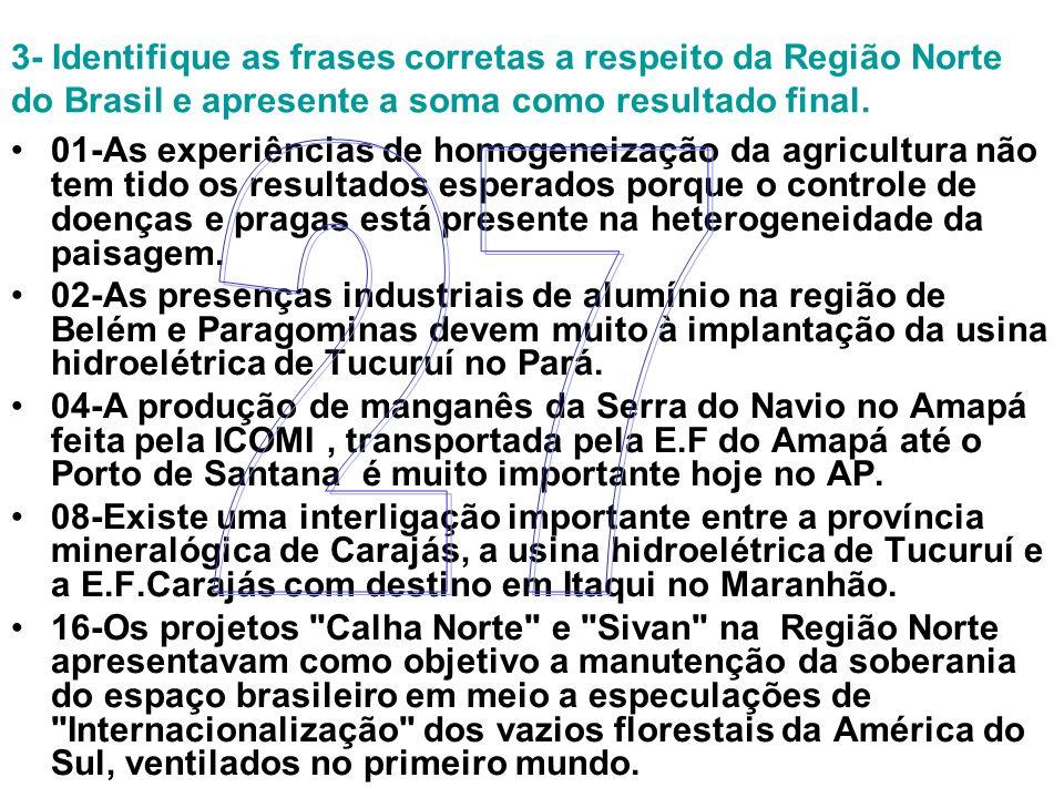 3- Identifique as frases corretas a respeito da Região Norte do Brasil e apresente a soma como resultado final.