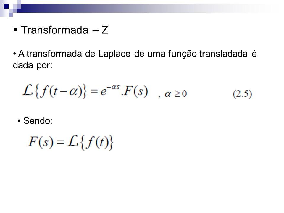Transformada – Z A transformada de Laplace de uma função transladada é dada por: Sendo: