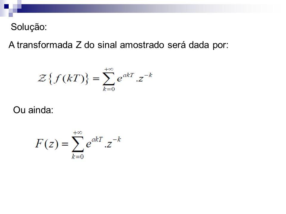 Solução: A transformada Z do sinal amostrado será dada por: Ou ainda: