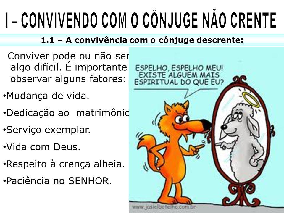 I – CONVIVENDO COM O CÔNJUGE NÃO CRENTE