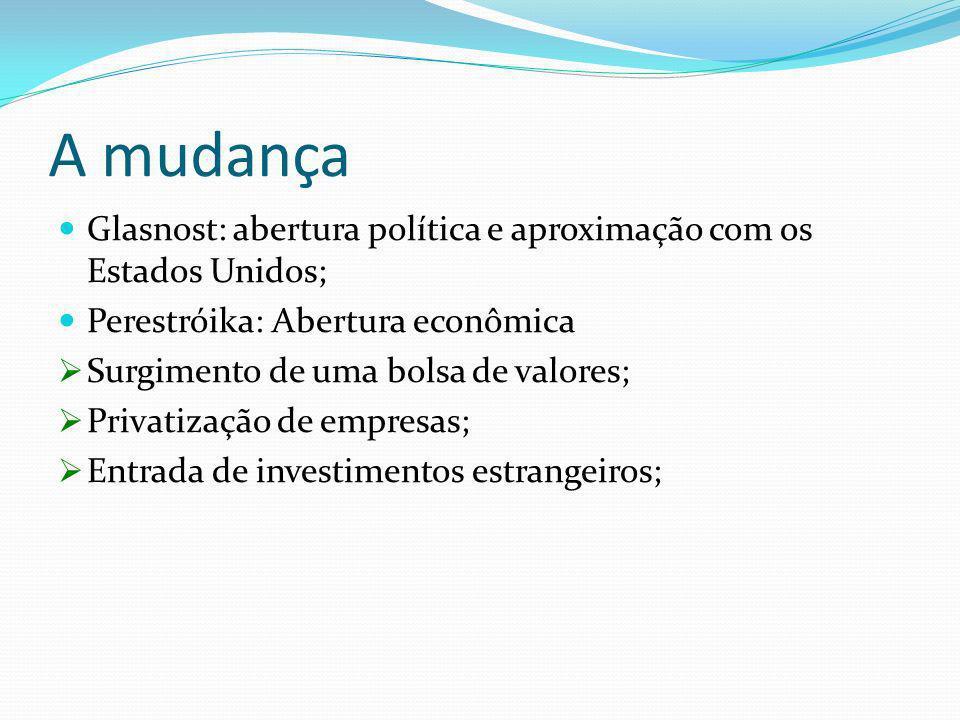 A mudança Glasnost: abertura política e aproximação com os Estados Unidos; Perestróika: Abertura econômica.