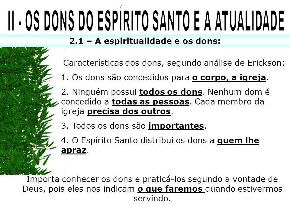 II - OS DONS DO ESPÍRITO SANTO E A ATUALIDADE
