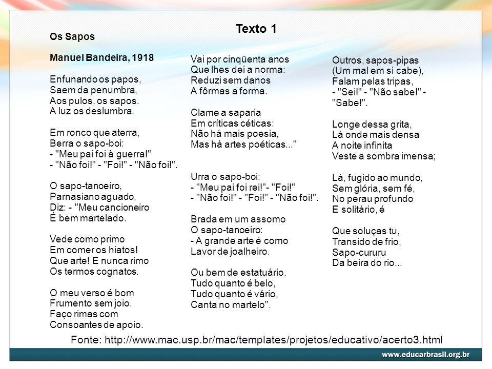 Texto 1Os Sapos. Manuel Bandeira, 1918. Enfunando os papos, Saem da penumbra, Aos pulos, os sapos. A luz os deslumbra.