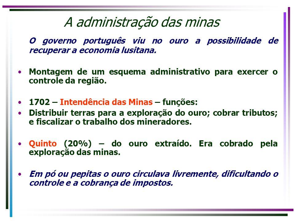 A administração das minas