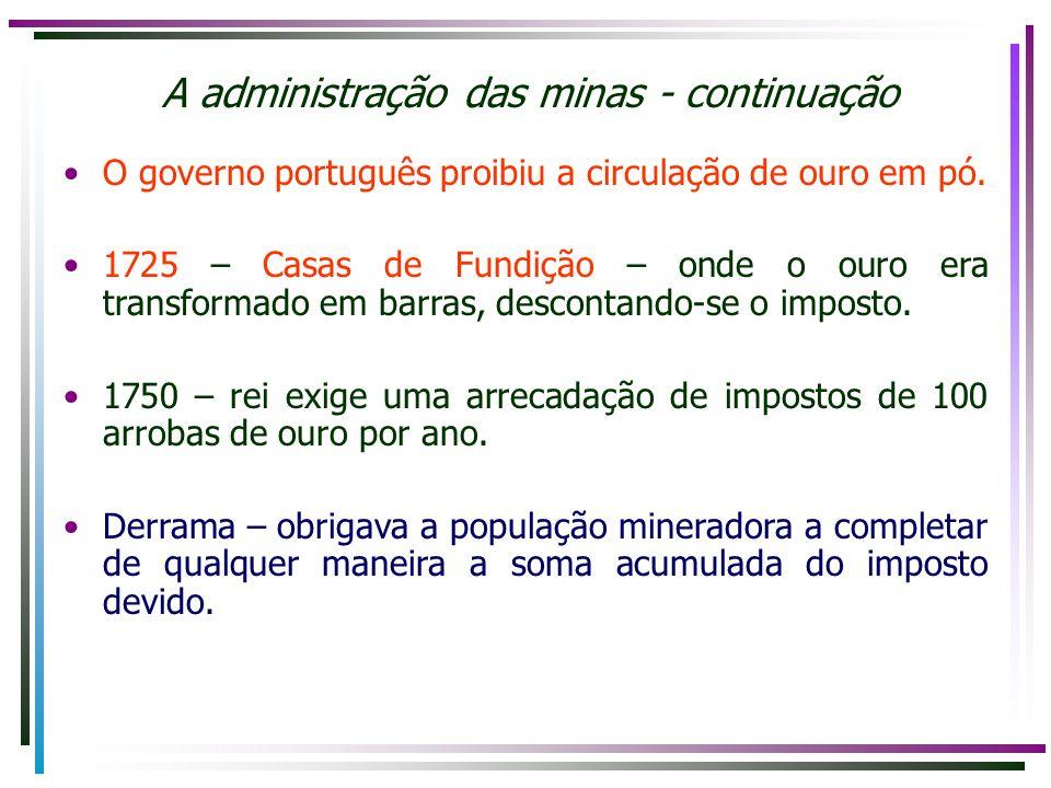 A administração das minas - continuação
