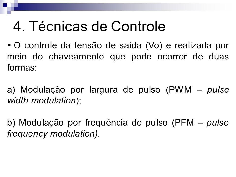 4. Técnicas de Controle O controle da tensão de saída (Vo) e realizada por meio do chaveamento que pode ocorrer de duas formas: