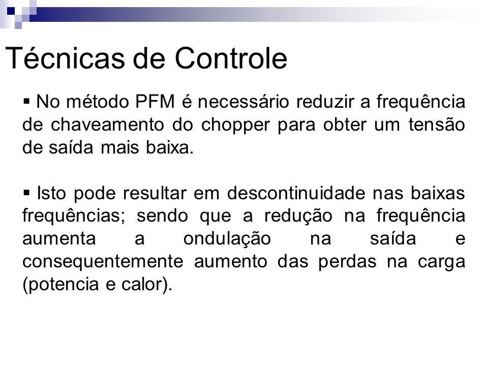 Técnicas de Controle No método PFM é necessário reduzir a frequência de chaveamento do chopper para obter um tensão de saída mais baixa.