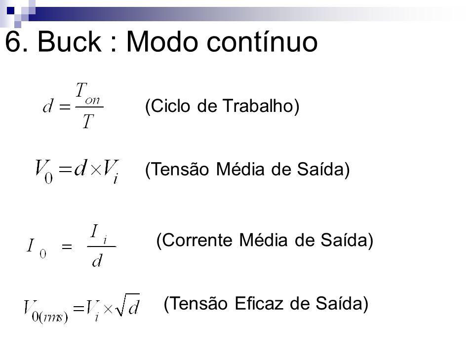 6. Buck : Modo contínuo (Ciclo de Trabalho) (Tensão Média de Saída)