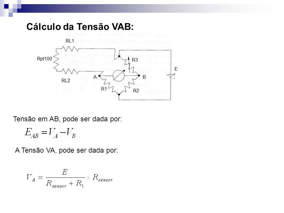 Cálculo da Tensão VAB: Tensão em AB, pode ser dada por:
