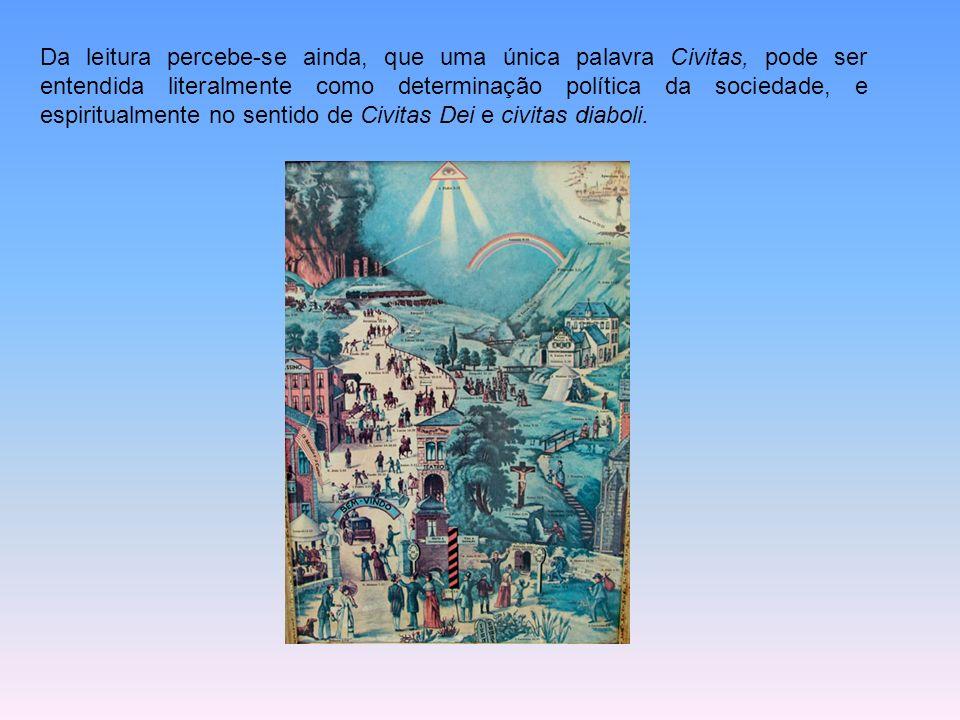 Da leitura percebe-se ainda, que uma única palavra Civitas, pode ser entendida literalmente como determinação política da sociedade, e espiritualmente no sentido de Civitas Dei e civitas diaboli.
