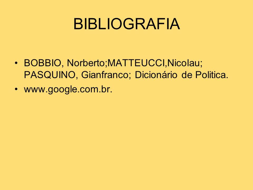 BIBLIOGRAFIA BOBBIO, Norberto;MATTEUCCI,Nicolau; PASQUINO, Gianfranco; Dicionário de Politica.