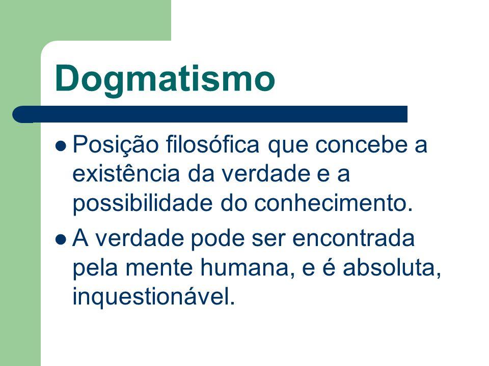 DogmatismoPosição filosófica que concebe a existência da verdade e a possibilidade do conhecimento.