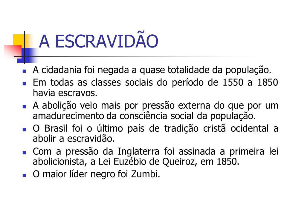 A ESCRAVIDÃO A cidadania foi negada a quase totalidade da população.