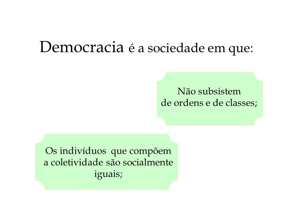 Democracia é a sociedade em que: