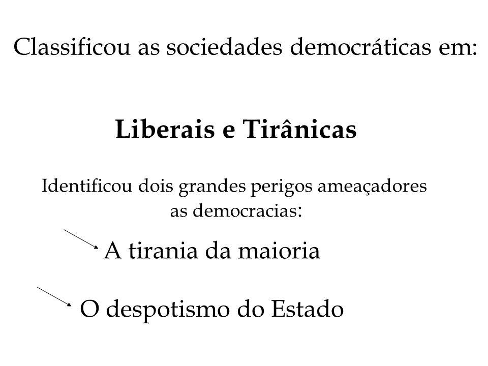 Liberais e Tirânicas Classificou as sociedades democráticas em: