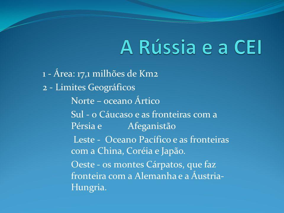 A Rússia e a CEI 1 - Área: 17,1 milhões de Km2 2 - Limites Geográficos