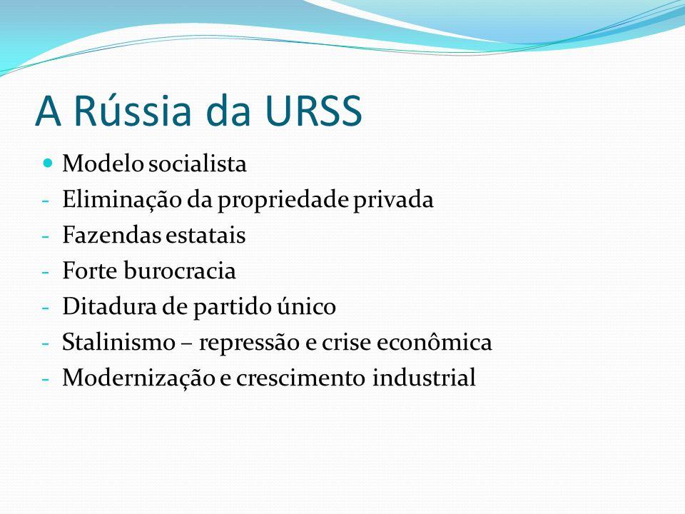 A Rússia da URSS Modelo socialista Eliminação da propriedade privada