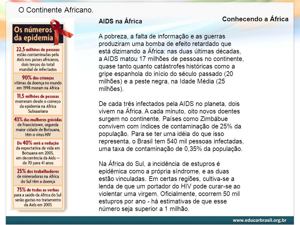 O Continente Africano. Conhecendo a África AIDS na África