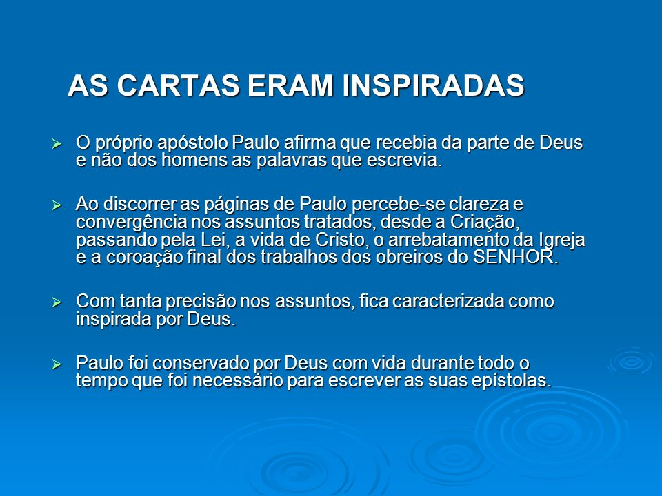 AS CARTAS ERAM INSPIRADAS