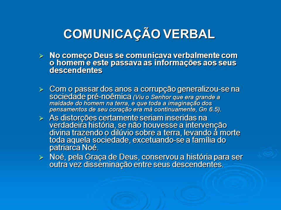 COMUNICAÇÃO VERBAL No começo Deus se comunicava verbalmente com o homem e este passava as informações aos seus descendentes.