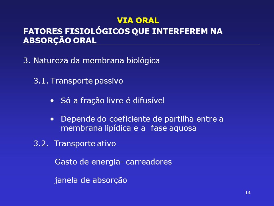 VIA ORALFATORES FISIOLÓGICOS QUE INTERFEREM NA ABSORÇÃO ORAL. 3. Natureza da membrana biológica. 3.1. Transporte passivo.